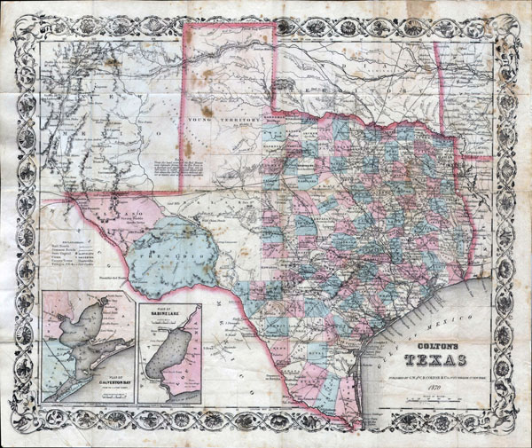 Large detailed old administrative map of Texas state - 1870.