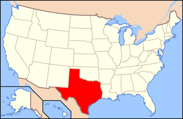 Large location map of Texas state. Texas state large location map.