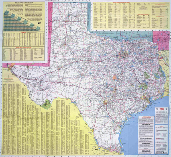Large road map of the state of Texas.