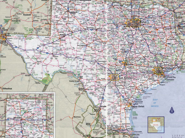Large roads and highways map of Texas state with all cities.