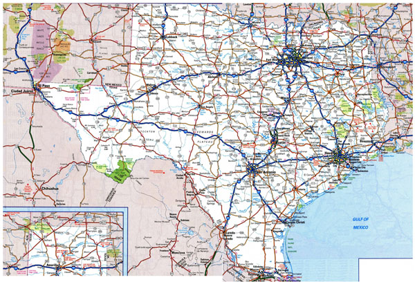 Large roads and highways map of Texas state with national parks and cities.