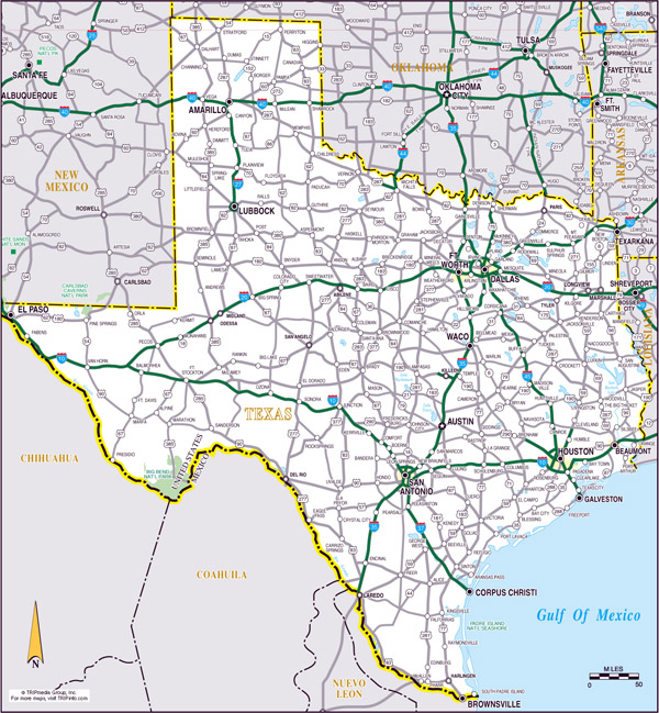 Large roads and highways map of the state of Texas.