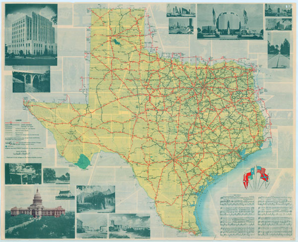 Large scale detailed Texas highway system map.