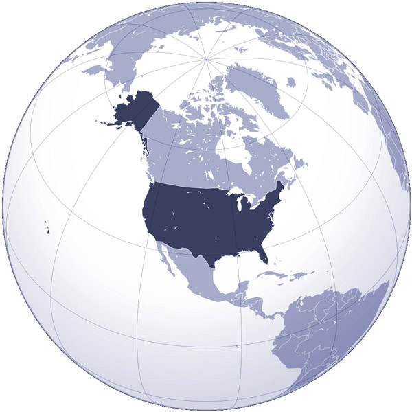 The United States location on world map.