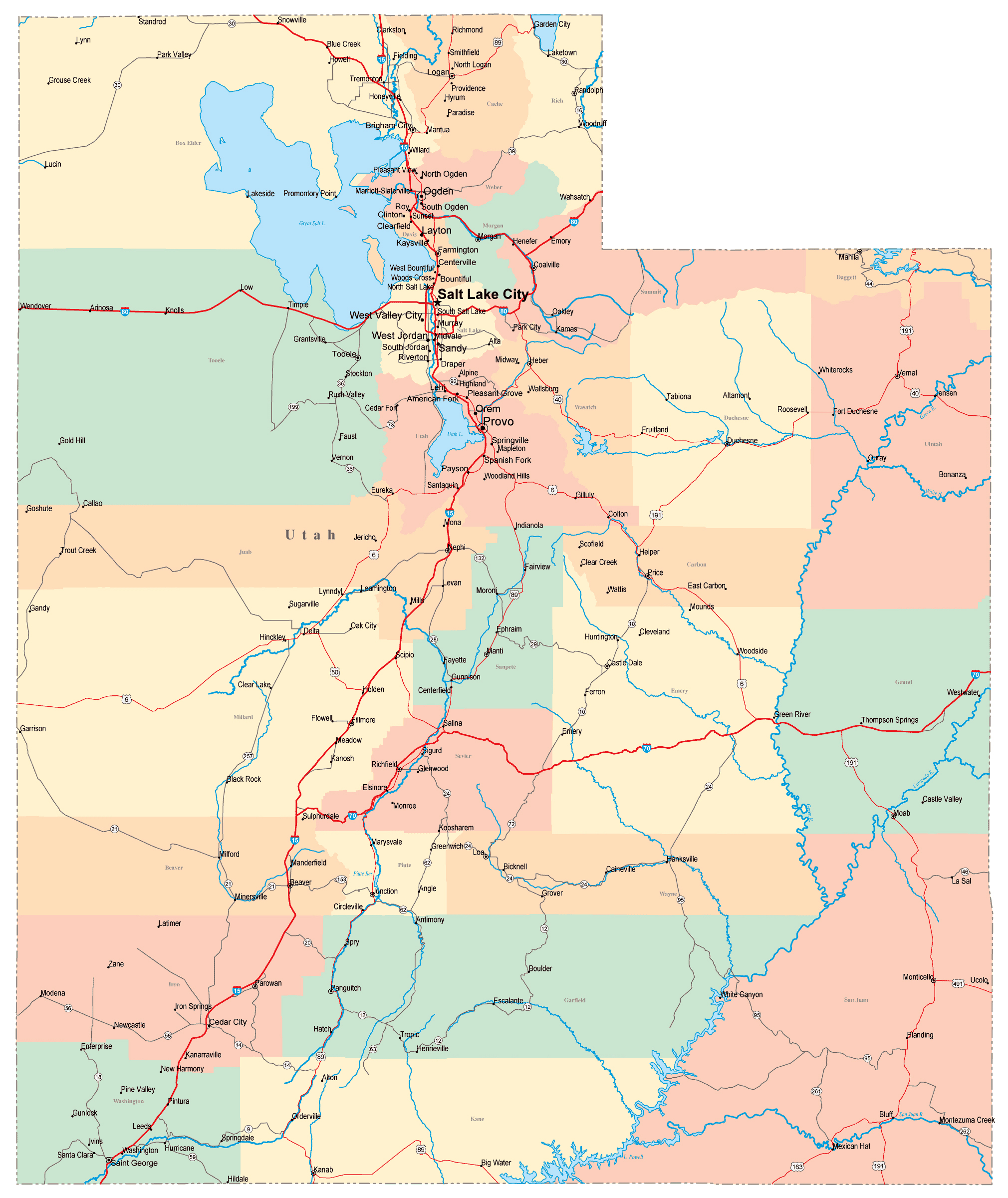 Large Administrative Map Of Utah State With Roads Highways And - Map of utah