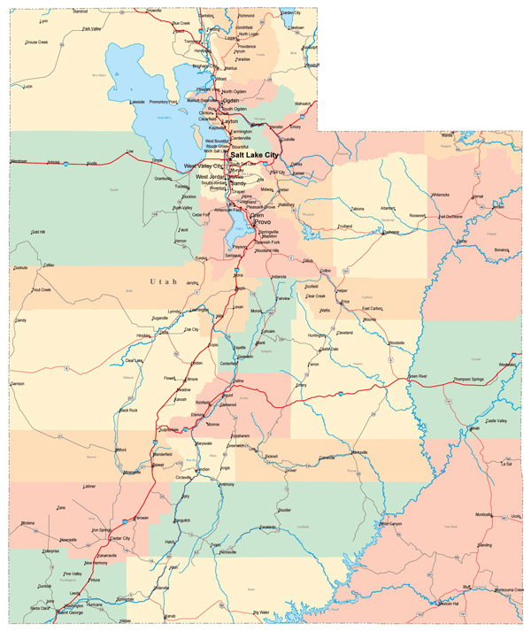 Large administrative map of Utah state with roads, highways and major cities.