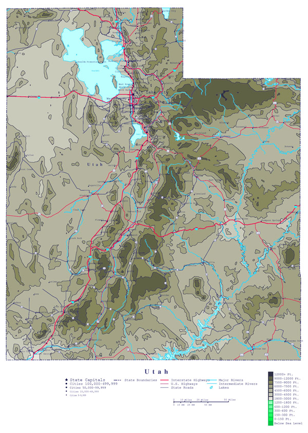 Large detailed elevation map of Utah state with roads, highways and cities.