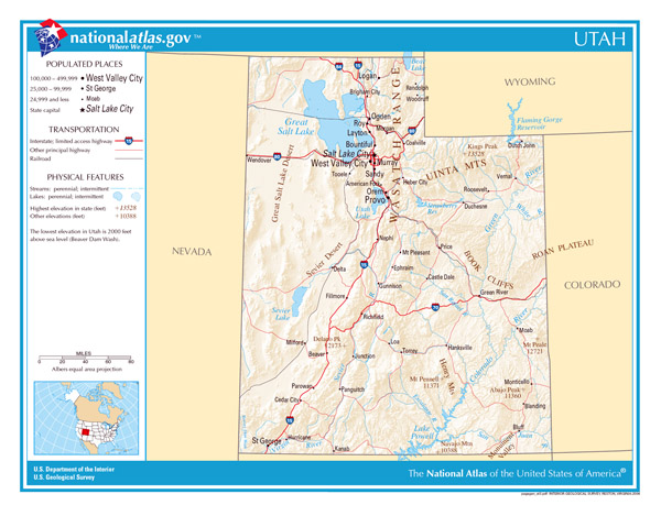Large detailed map of Utah state. Utah state large detailed map.