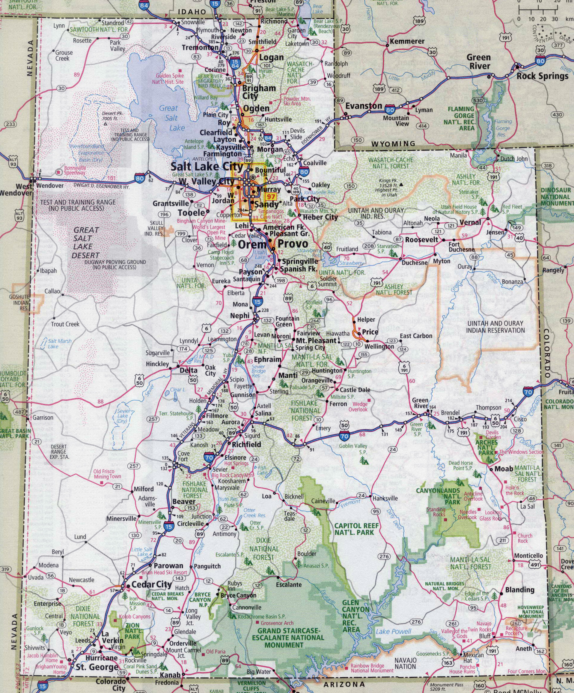 Large detailed roads and highways map of Utah state with all cities