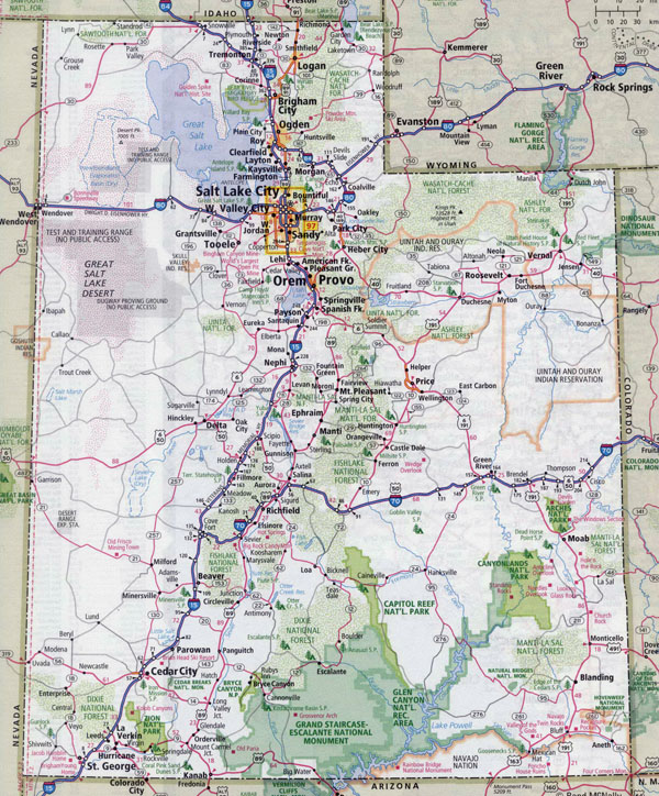 Large detailed roads and highways map of Utah state with all cities.