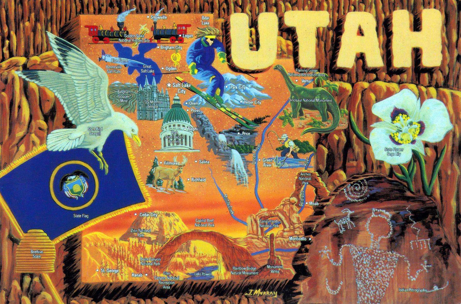 {Large detailed tourist illustrated map of the state of Utah – Utah Tourist Map