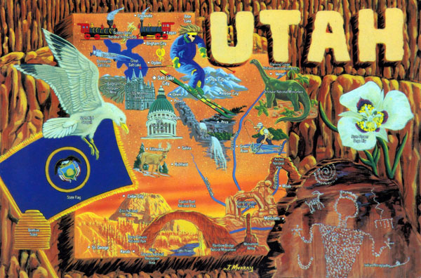 Large detailed tourist illustrated map of the state of Utah.