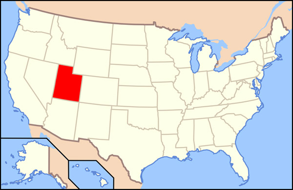 The state of Utah large location map.