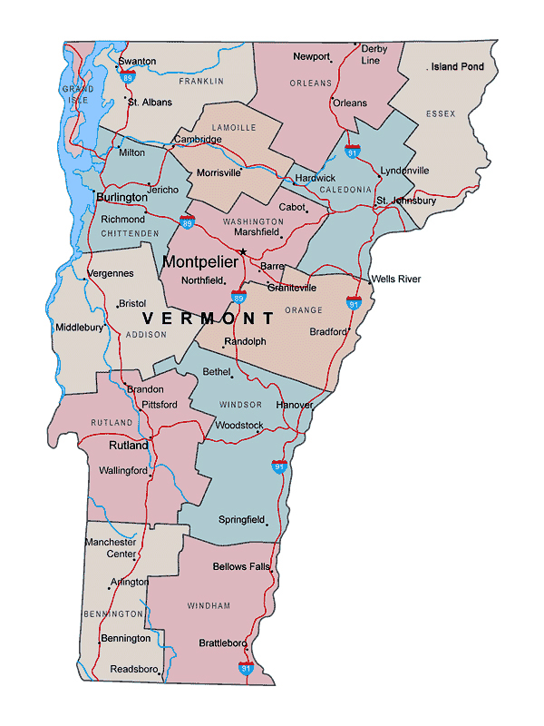 Administrative map of Vermont state with major cities | Vidiani.com ...