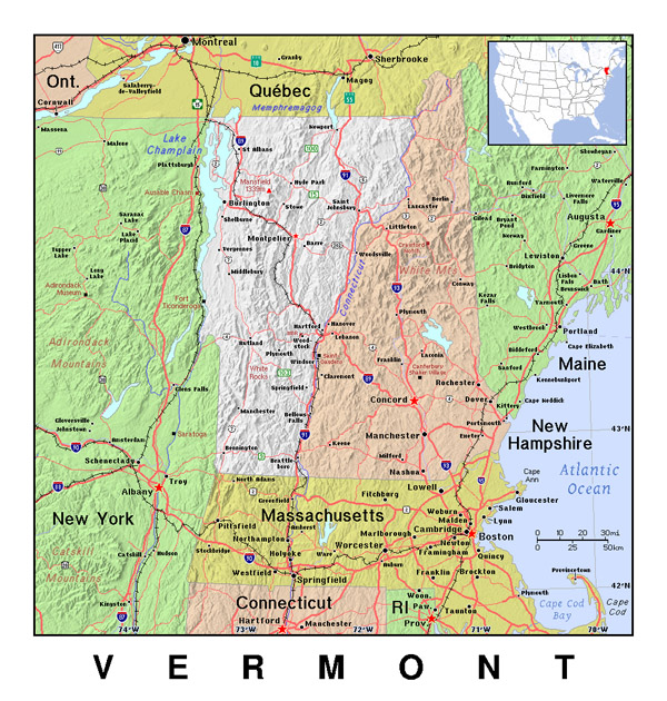 The state of Vermont detailed map with relief.