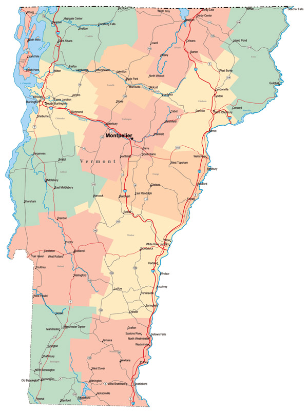 Large administrative map of Vermont state with roads, highways and major cities.