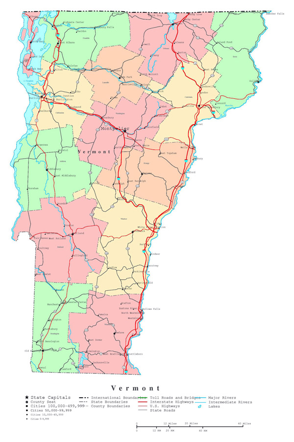 Large detailed administrative map of Vermont state with roads, highways and cities.