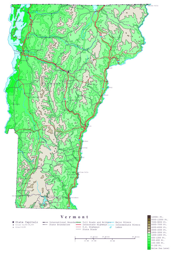 Large detailed elevation map of Vermont state with roads, highways and major cities.