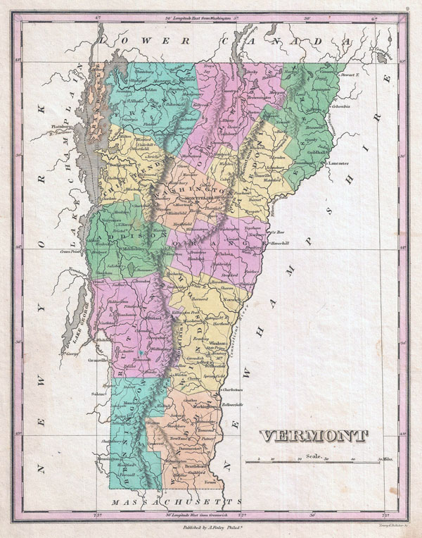 Large detailed old administrative map of Vermont state - 1827.