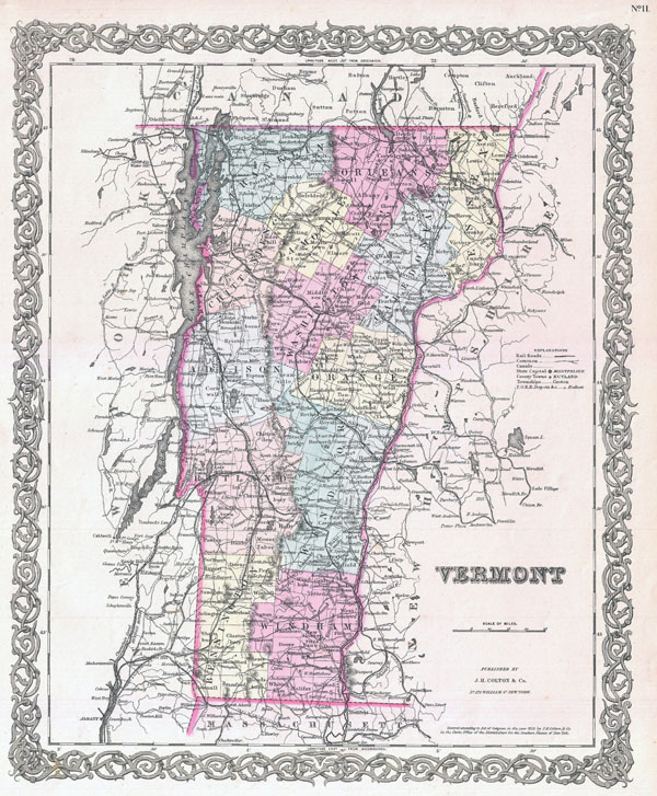 Large detailed old administrative map of Vermont state - 1855.