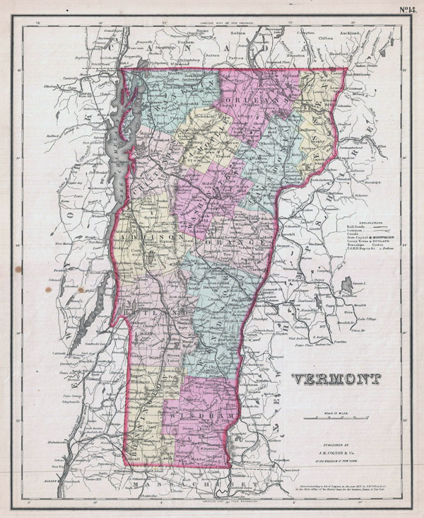 Large detailed old administrative map of Vermont state - 1857.