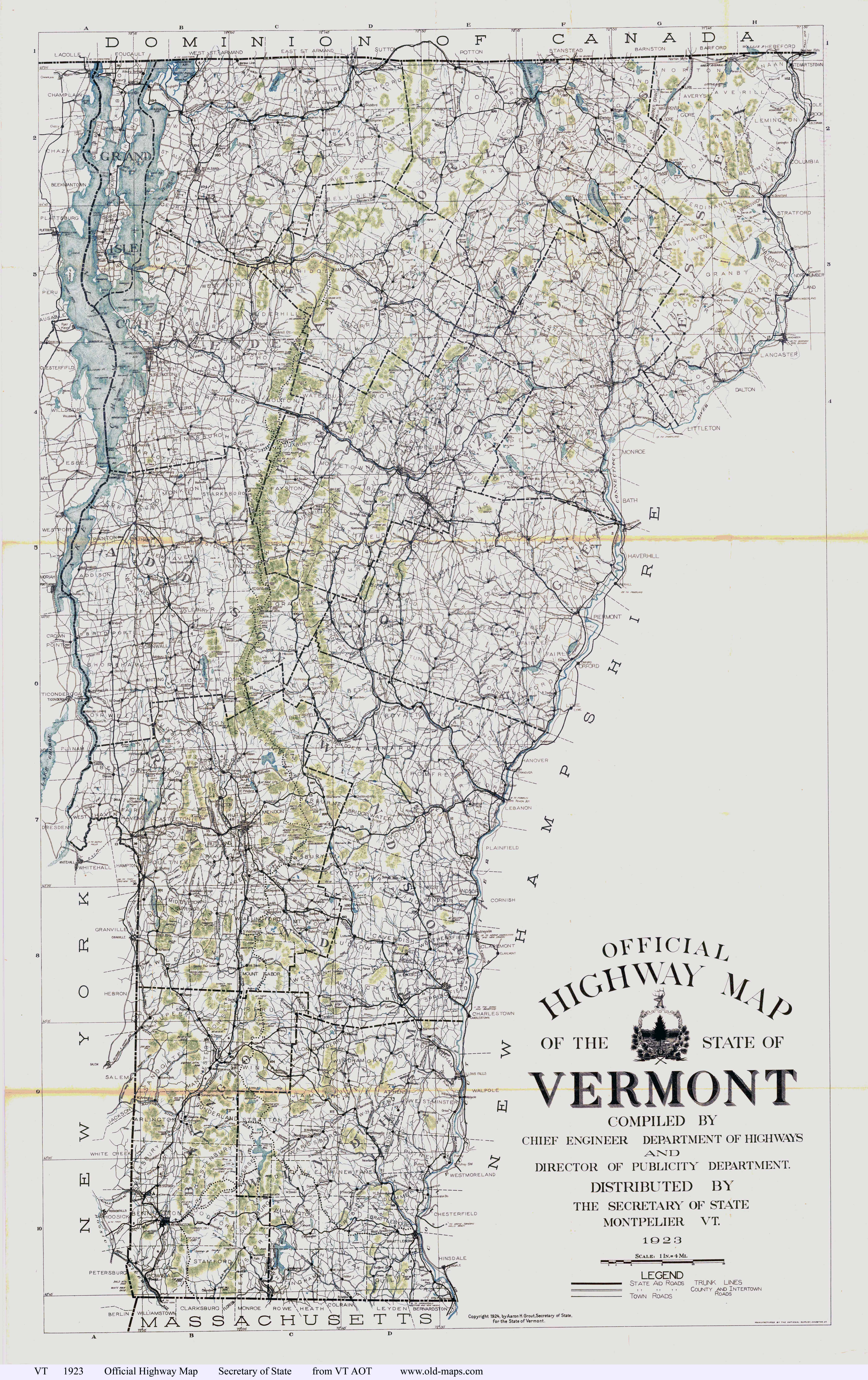Large detailed old highway map of the state of Vermont 1923