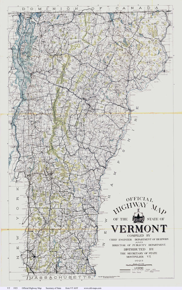 Large detailed old highway map of the state of Vermont - 1923.