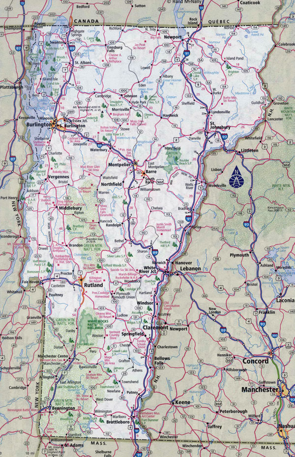 Large detailed roads and highways map of Vermont state with all cities.
