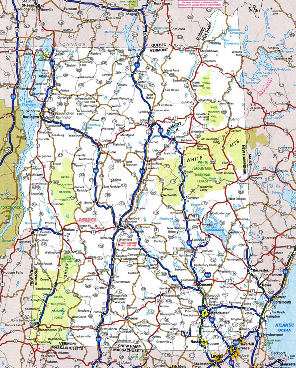 Large detailed roads and highways map of Vermont state with national parks and cities.