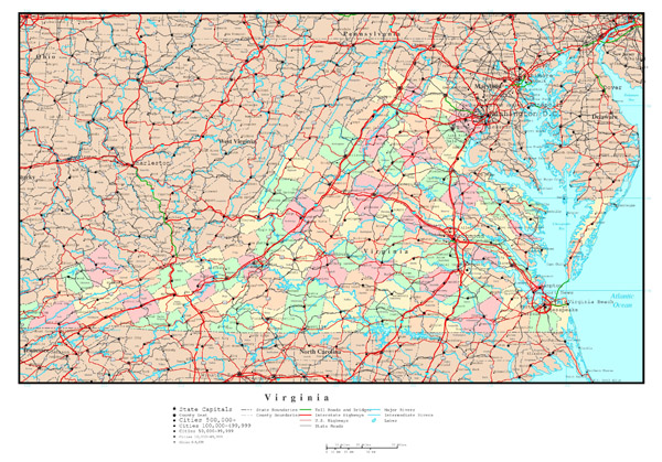 Large detailed administrative map of Virginia state with roads, highways and all cities.