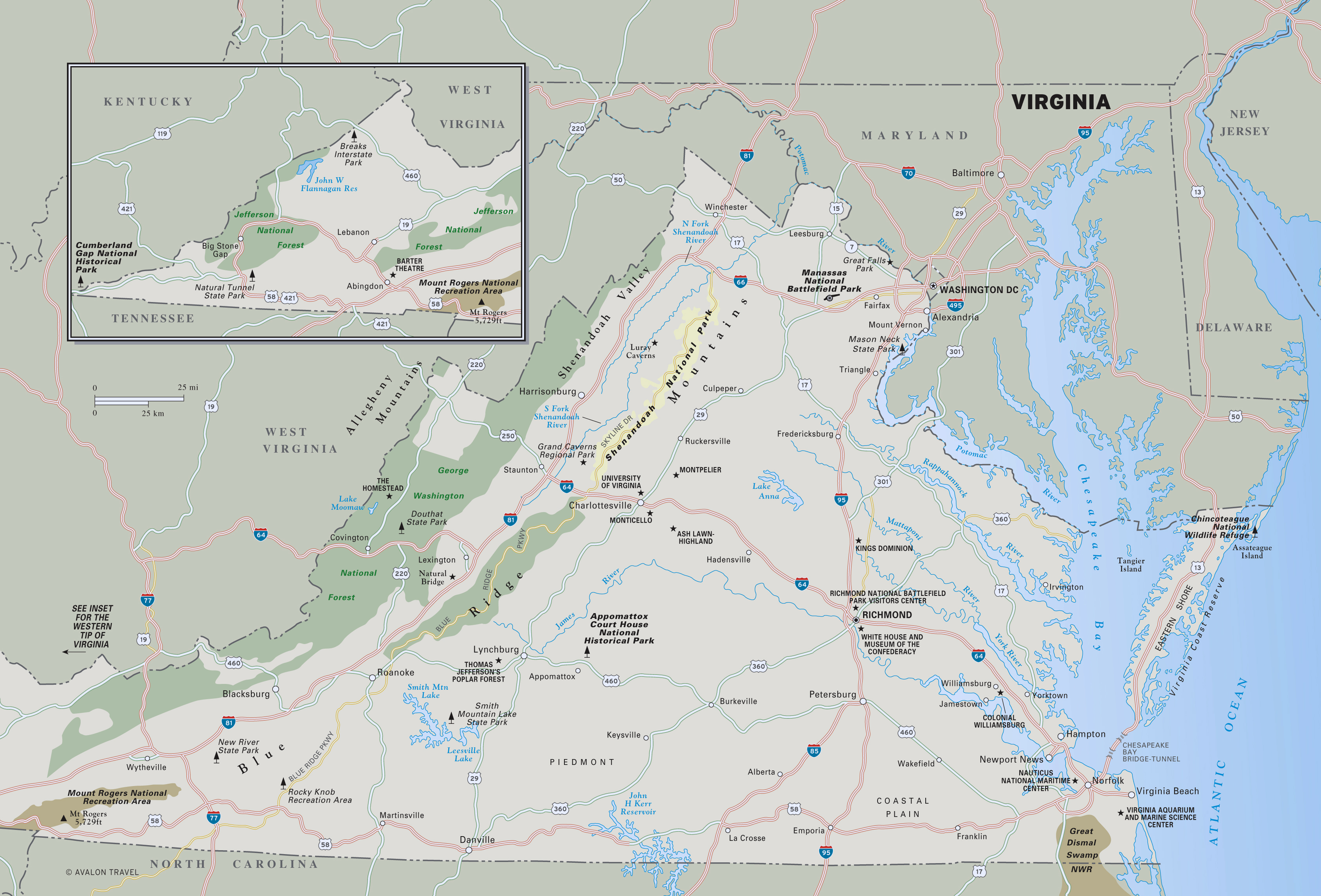 Map Of Virginia State Parks Large detailed map of Virginia state with national parks, highways