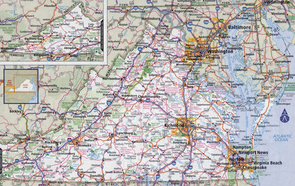 Large detailed roads and highways map of Virginia state with national parks and all cities.