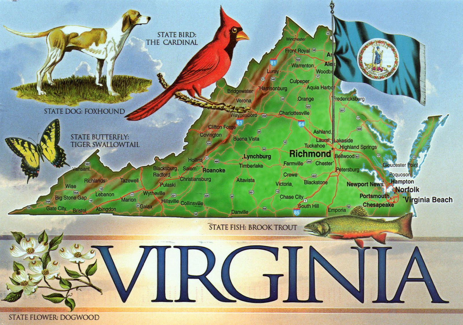 Large detailed tourist map of the state of Virginia Vidianicom
