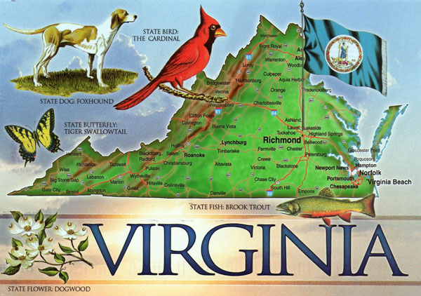 Large detailed tourist map of the state of Virginia.