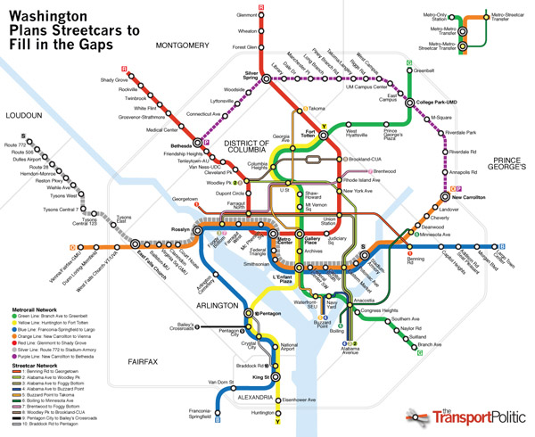 Washington D.C. future transit map.
