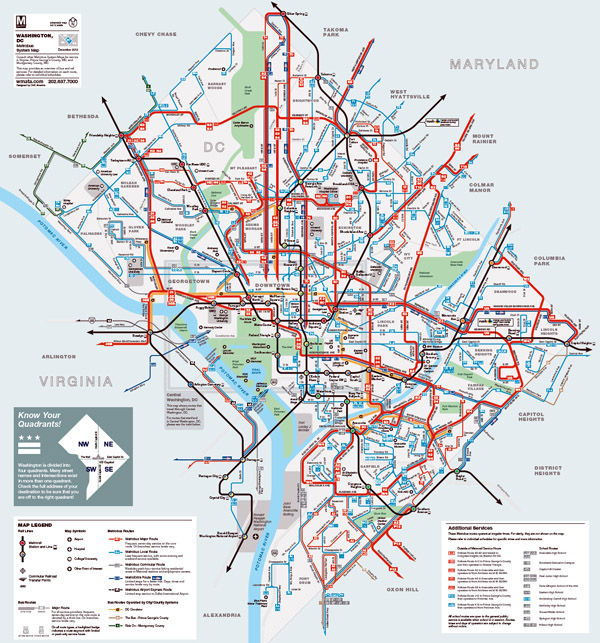 Detailed Metrobus route map of Washington D.C..