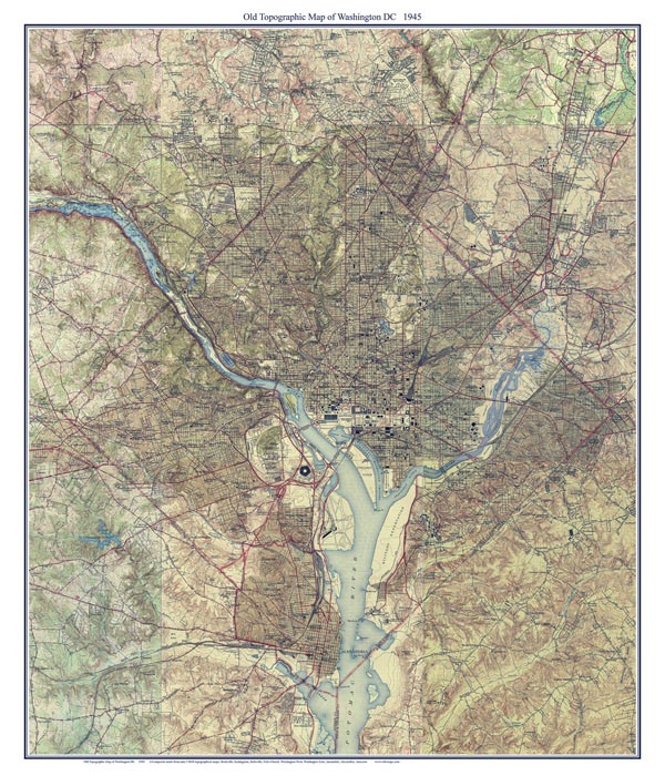 Large detailed old topographic map of Washington D.C. - 1945.