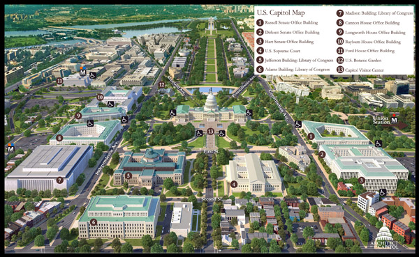 Large detailed panoramic map of U.S. Capitol.