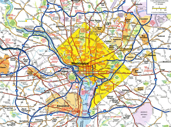 Large detailed roads and highways map of Washington D.C. area.