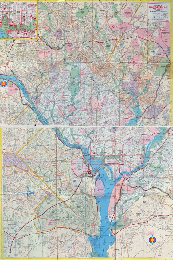 Large full road map of Washington D.C..