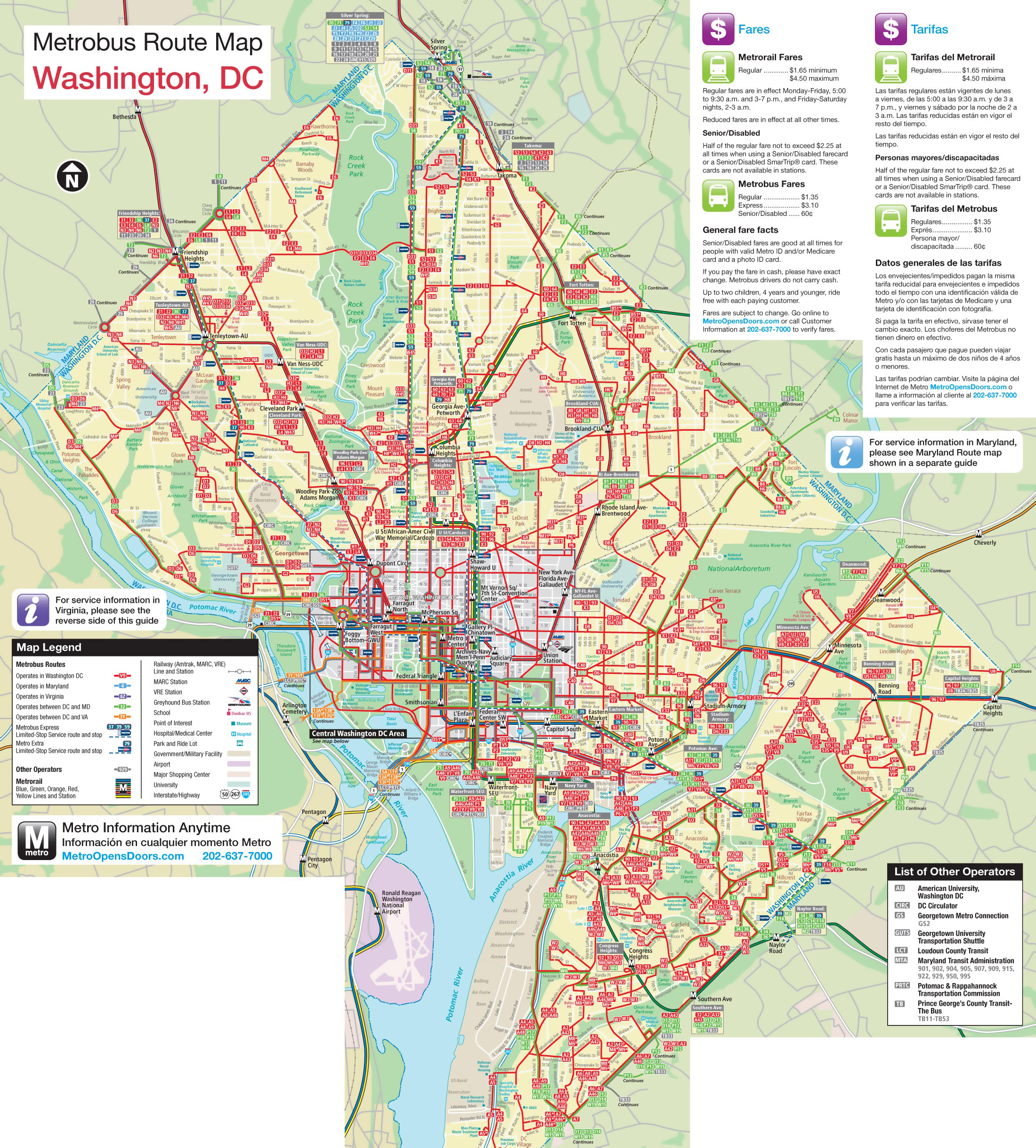 graphic regarding Printable Maps of Washington Dc called Weighty Metrobus direction map of Washington D.C.. Washington D.C.