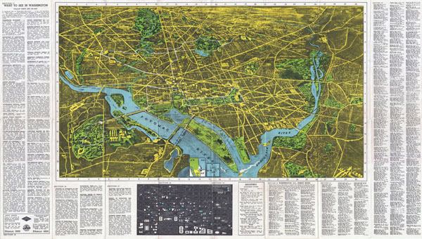 Large scale detailed panoramic map of Washington D.C..