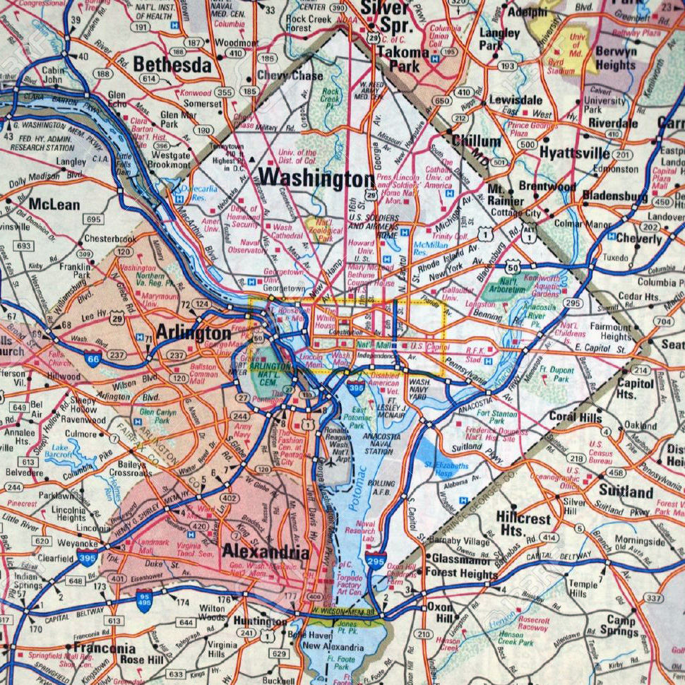 Washington D.C. area roads and highways map. Roads and highways map ...