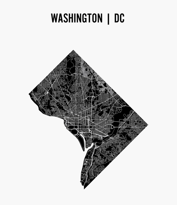Washington D.C. schematic streets map.