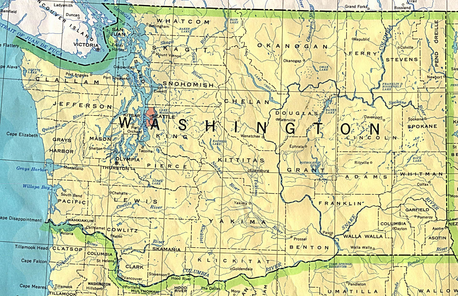 Detailed map of Washington state. Washington state detailed map ...