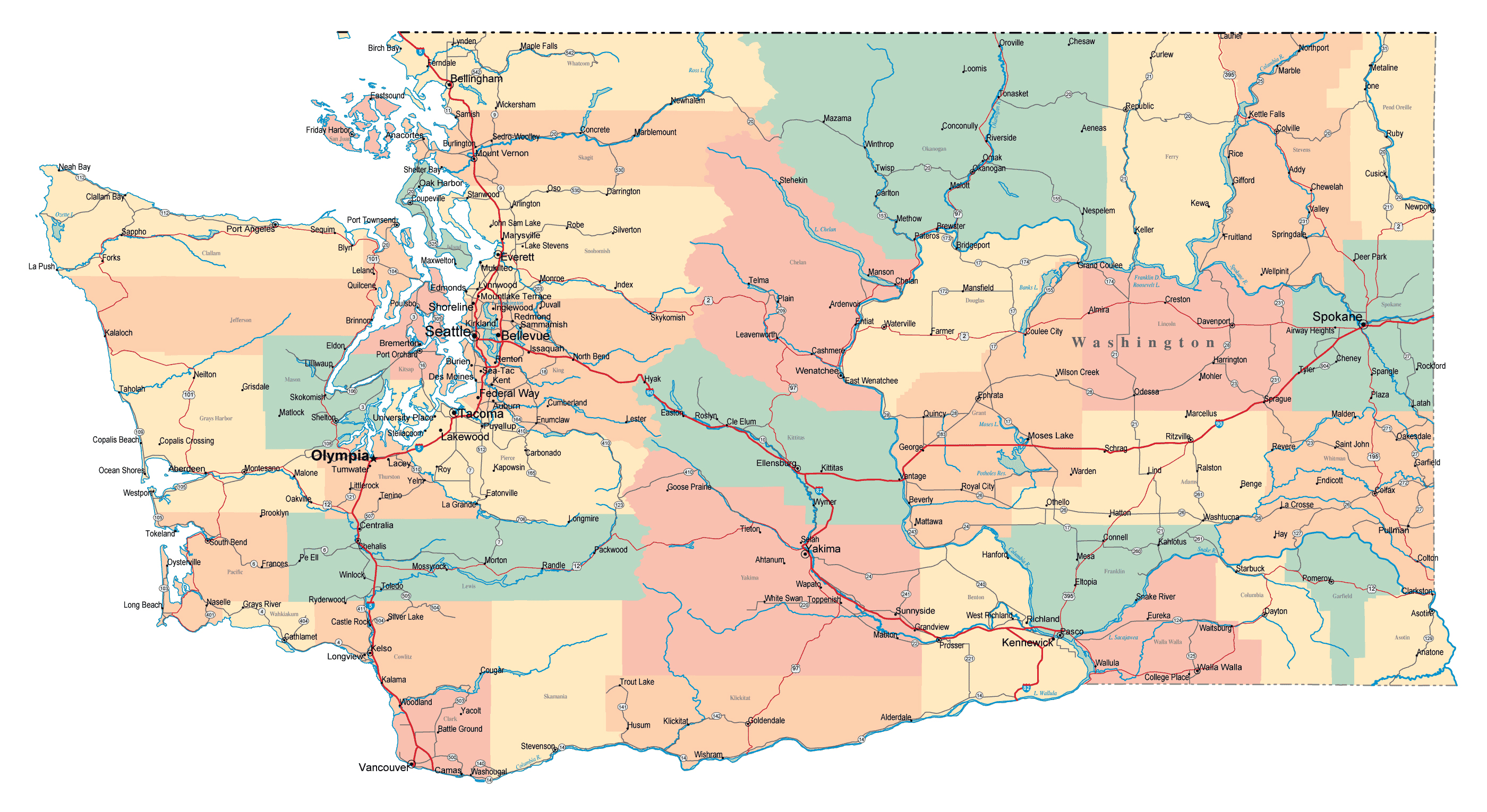 Large Administrative Map Of Washington State With Roads Highways