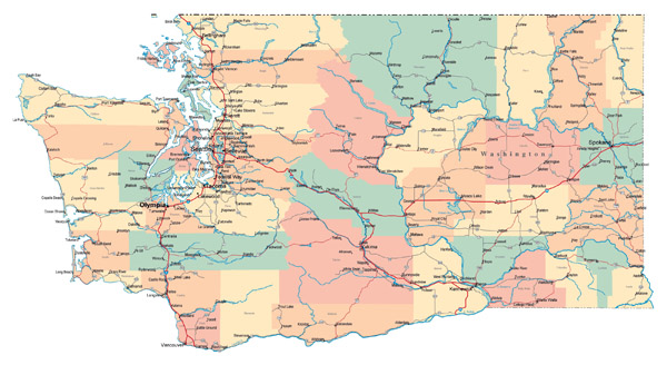 Large administrative map of Washington state with roads, highways and major cities.