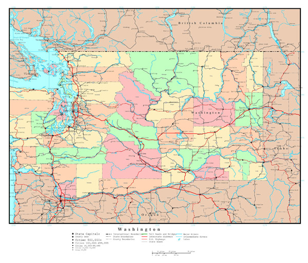 Large detailed administrative map of Washington state with roads, highways and cities.