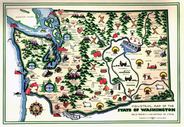 Large detailed old industrial illustrated map of Washington state - 1945.