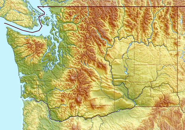 Large detailed relief map of Washington state.